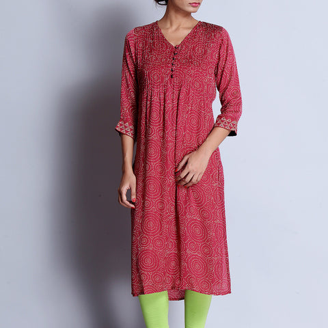 Maroon Hand Block Printed Modal Viscose Long Kurta With Pintuck Details & Embroidered Sleeves by indigene