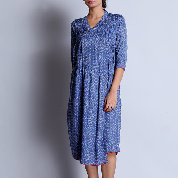 Blue Hand Block Printed Modal Viscose Long Angarakha Kurta With Pintucks & Embroidered Cuffs