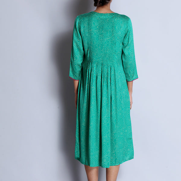 Green Hand Block Printed Modal Viscose Long Kurta With Pintuck Details & Embroidered Neckline