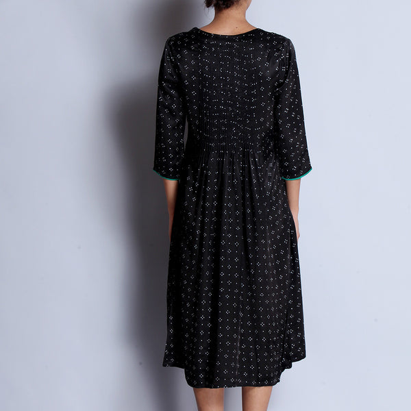 Black Hand Block Printed Modal Viscose Long Kurta With Pintuck Details & Embroidered Neckline