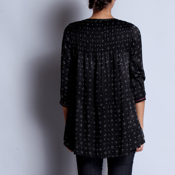 Black Hand Block Printed Modal Viscose Front & Back Pleated Tunic With Embroidered Sleeve Details