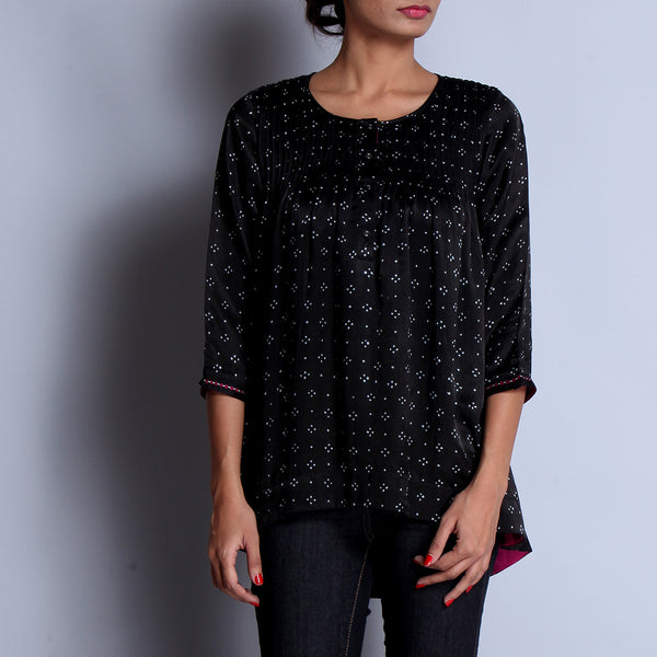 Black Hand Block Printed Modal Viscose Front & Back Pleated Tunic With Embroidered Sleeve Details by indigene