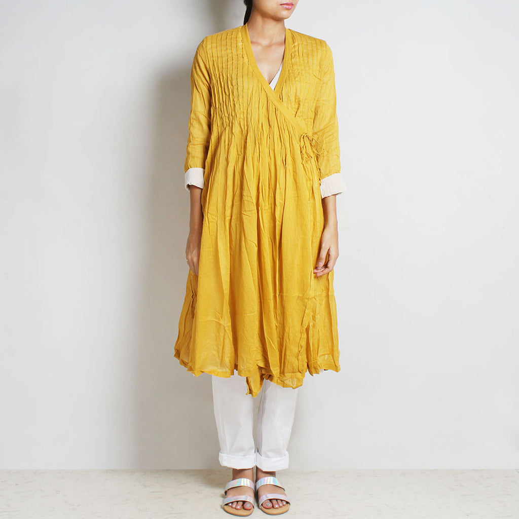 Gold Mul Cotton Pleat Angrakha With Inner And Bottoms by FLAME