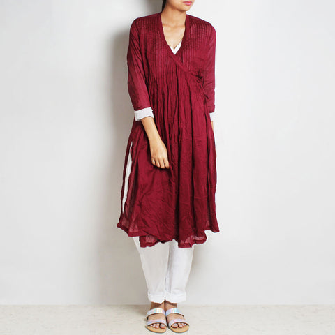 Maroon Mul Cotton Pleated Angrakha With Inner And Bottoms by FLAME