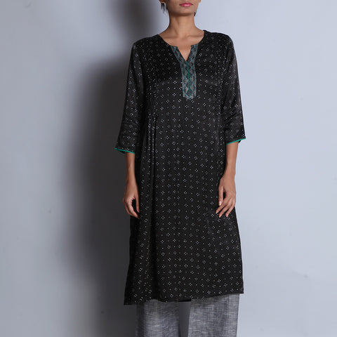 Black Hand Block Printed Modal Viscose Long Kurta With Pintuck Details & Embroidered Neckline by indigene