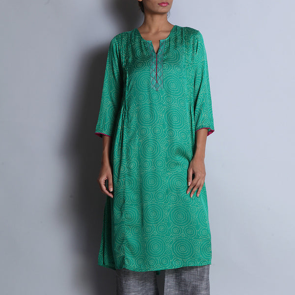 Green Hand Block Printed Modal Viscose Long Kurta With Pintuck Details & Embroidered Neckline by indigene
