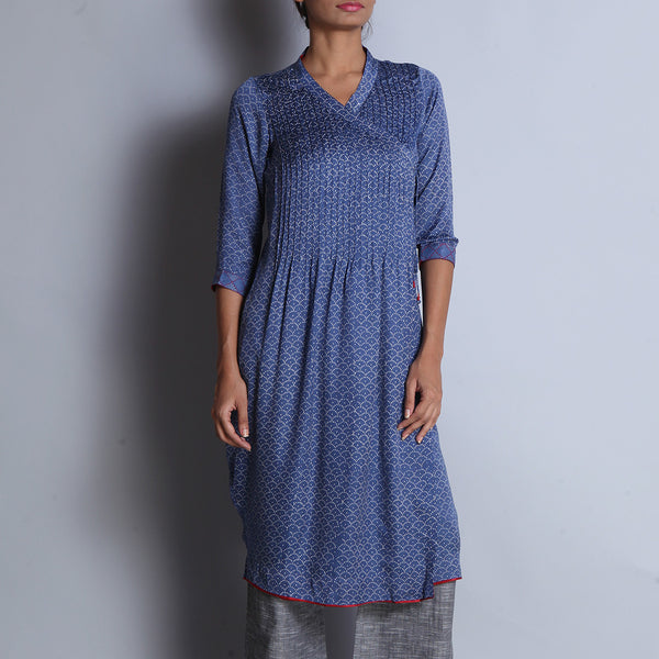 Blue Hand Block Printed Modal Viscose Long Angarakha Kurta With Pintucks & Embroidered Cuffs by indigene