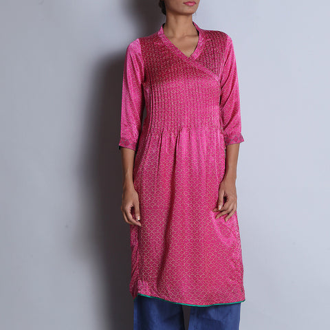 Pink Hand Block Printed Modal Viscose Long Angarakha Kurta With Pintucks & Embroidered Cuffs by indigene