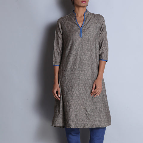 Gray Hand Block Printed Tussar Muga Silk Long Paneled Kurta With Chinese Collar by indigene