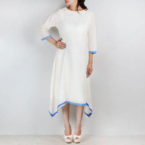 Off white asymmetric tunic with blue lace hemline by NOYA
