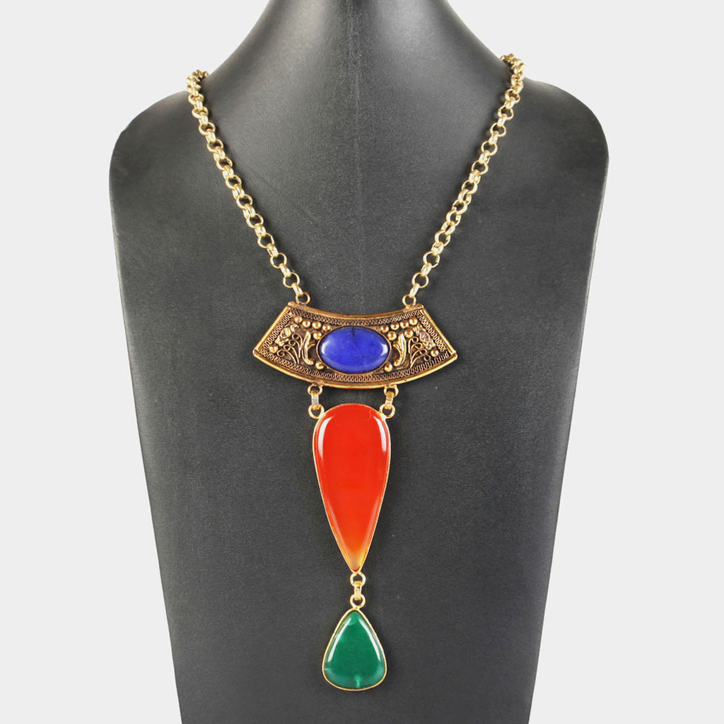 Triple gem Byzantium Statement Necklace by Suman Mishra Jewelry