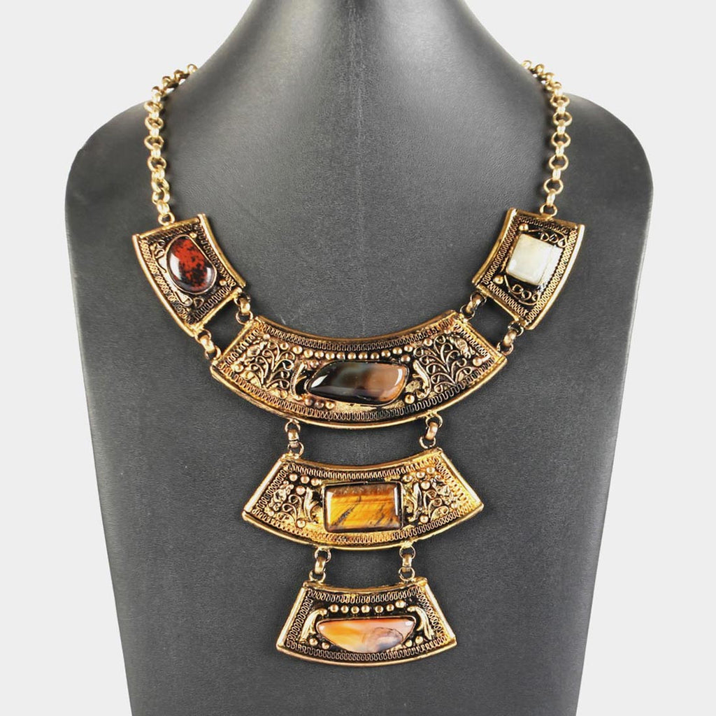 Brown Stones Three Tier Goddess Necklace by Suman Mishra Jewelry