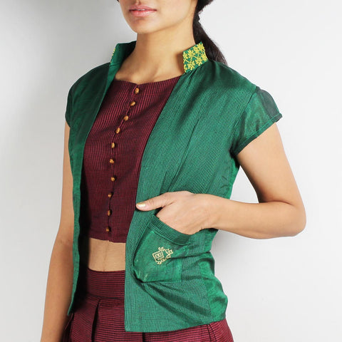 Green Checkered Embroidered Front Open Vest by Dori