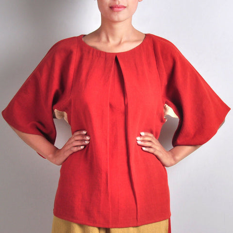Red Khadi Top by JAYATI GOENKA