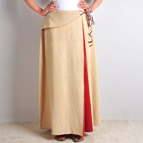 Colour-blocked Beige Skirt by JAYATI GOENKA