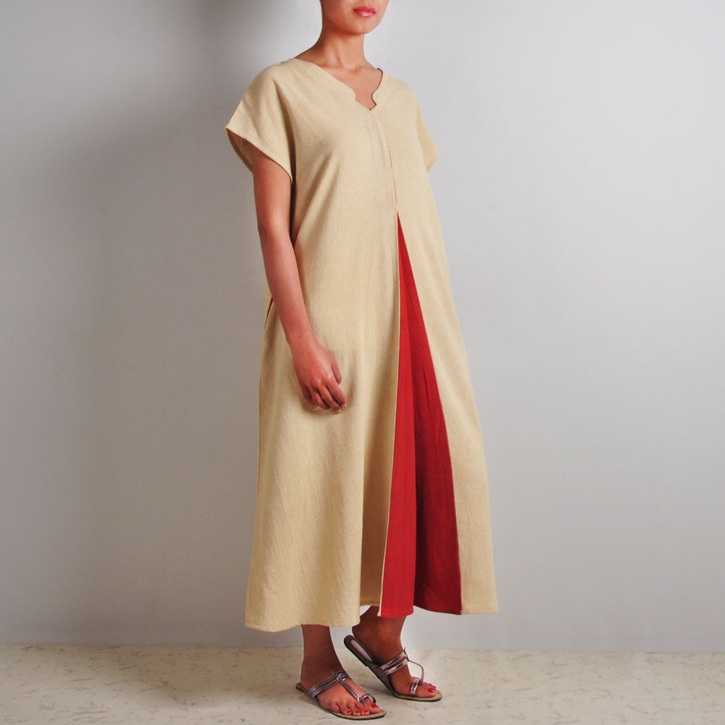 Beige Mandarin Dress by JAYATI GOENKA