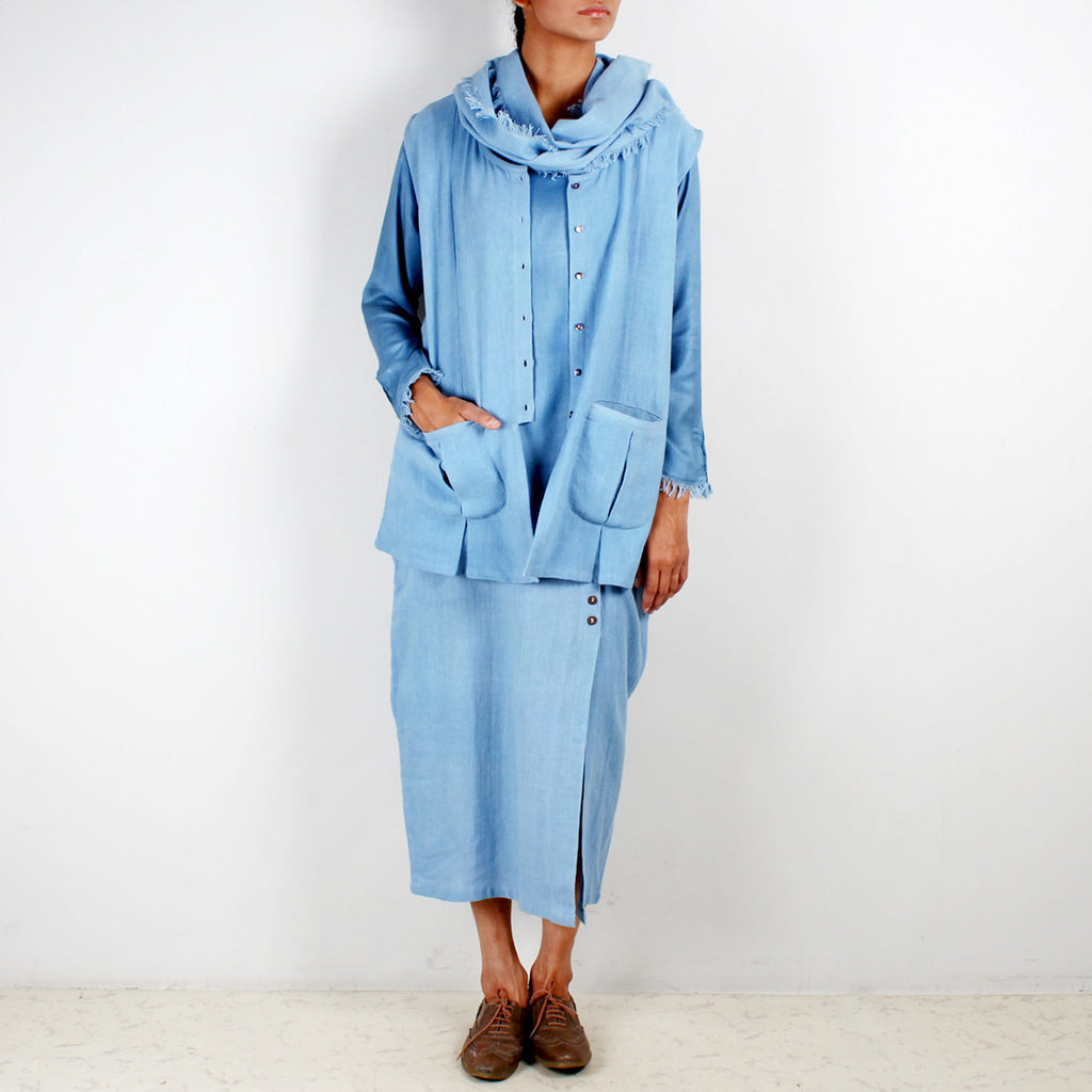 A Set Of Blue Bare Jacket Sordino Top& Cocoon Khadi Skirt by JAYATI GOENKA