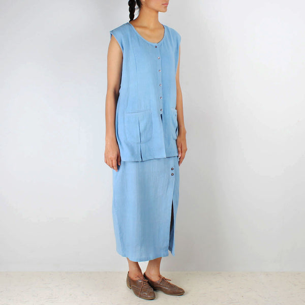 A Set Of Blue Bare Jacket Sordino Top& Cocoon Khadi Skirt