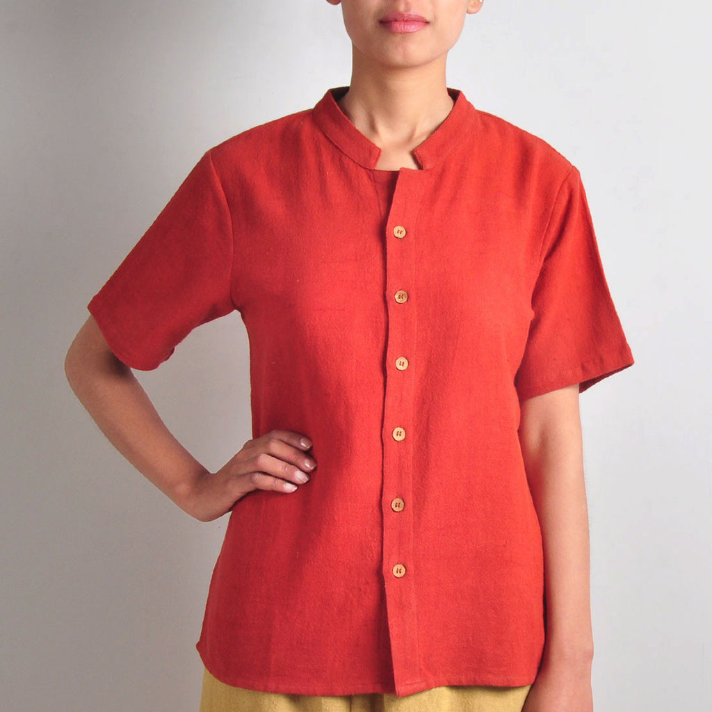Red Mandarin Shirt by JAYATI GOENKA