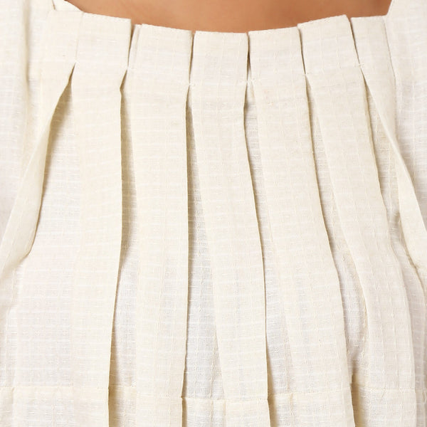 Ivory Cotton Pleated Dress