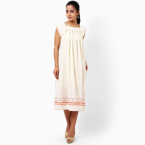 Ivory Cotton Pleated Dress by JAYATI GOENKA