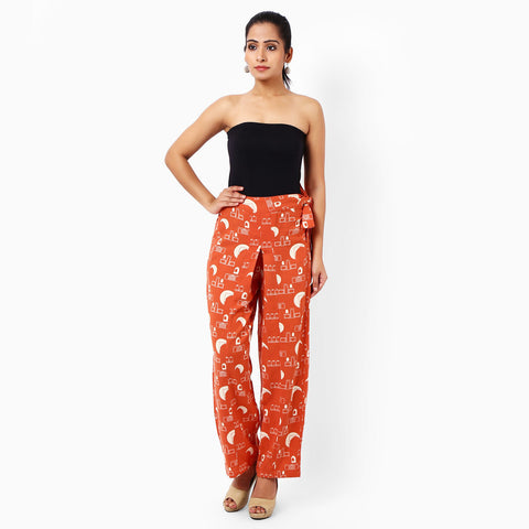 Tangerine Cotton Tachibana Trousers  by JAYATI GOENKA