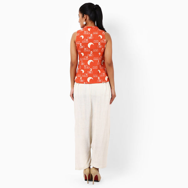 Tangerine Cotton Hand Printed Top