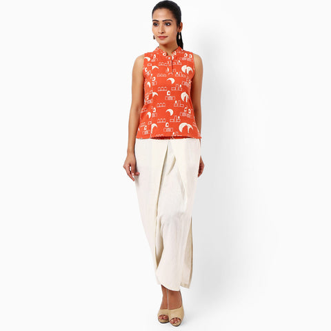 Tangerine Cotton Hand Printed Top by JAYATI GOENKA