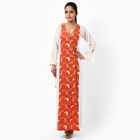 Ivory Khadi Hand Printed Dress by JAYATI GOENKA