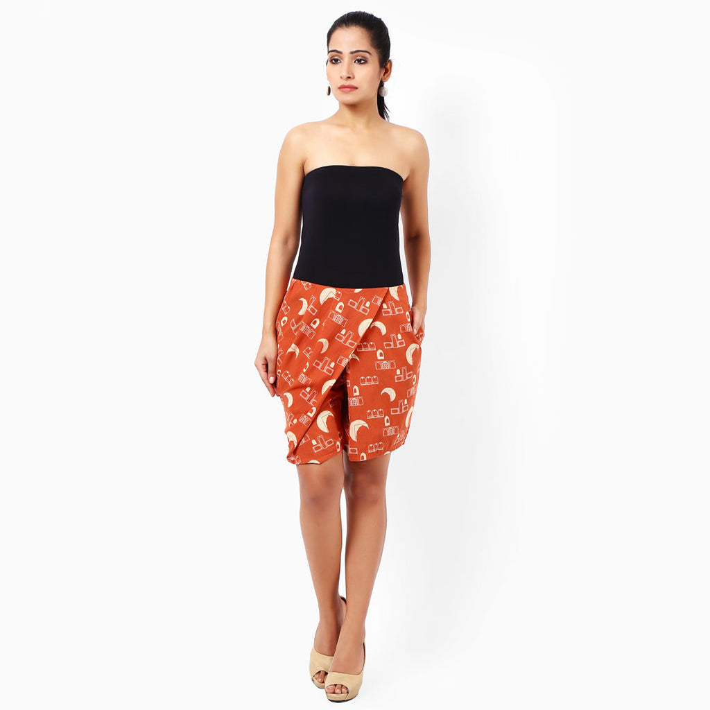 Tangerine Cotton Hakama Shorts  by JAYATI GOENKA