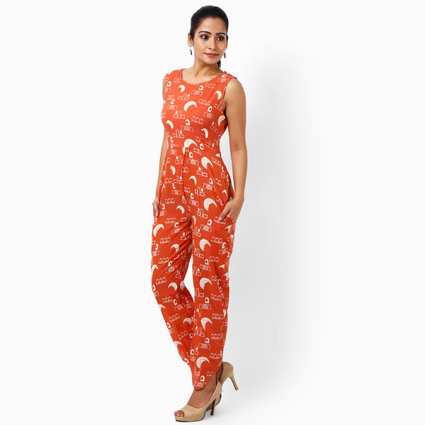 Tangerine Cotton Jumpsuits