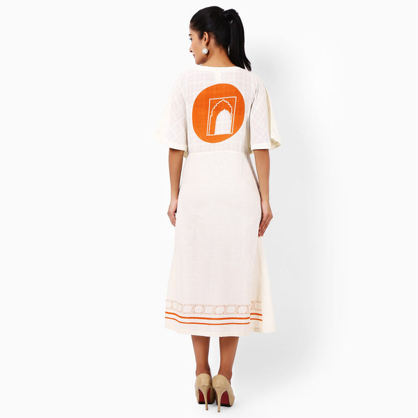 Ivory Cotton Hand-Printed Dress