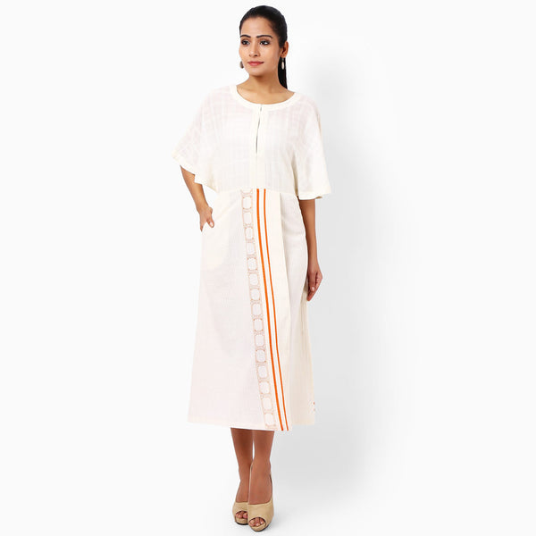 Ivory Cotton Hand-Printed Dress by JAYATI GOENKA