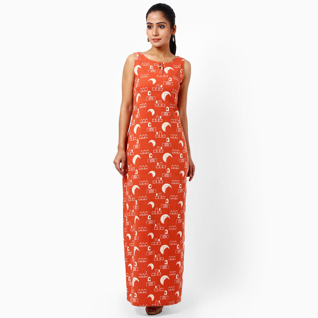 Tangerine Cotton Maxi Dress by JAYATI GOENKA