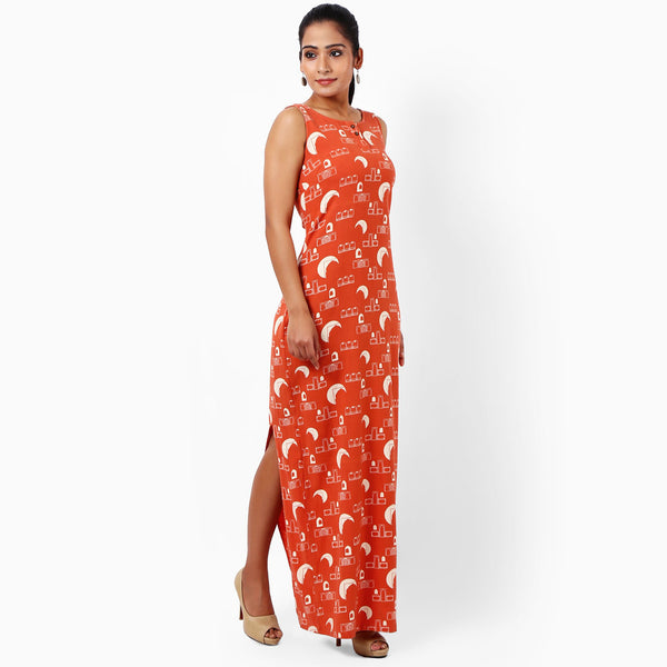 Tangerine Cotton Maxi Dress