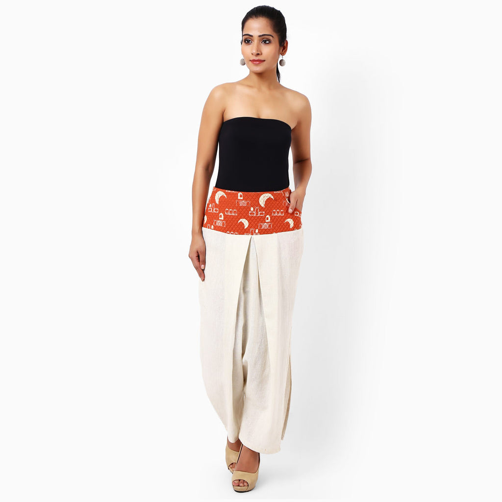 Off White Cotton Trousers by JAYATI GOENKA