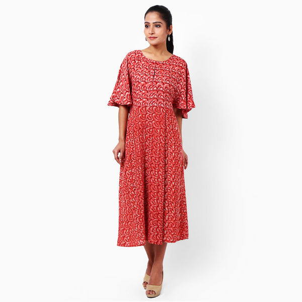 Red Cotton Dress by JAYATI GOENKA