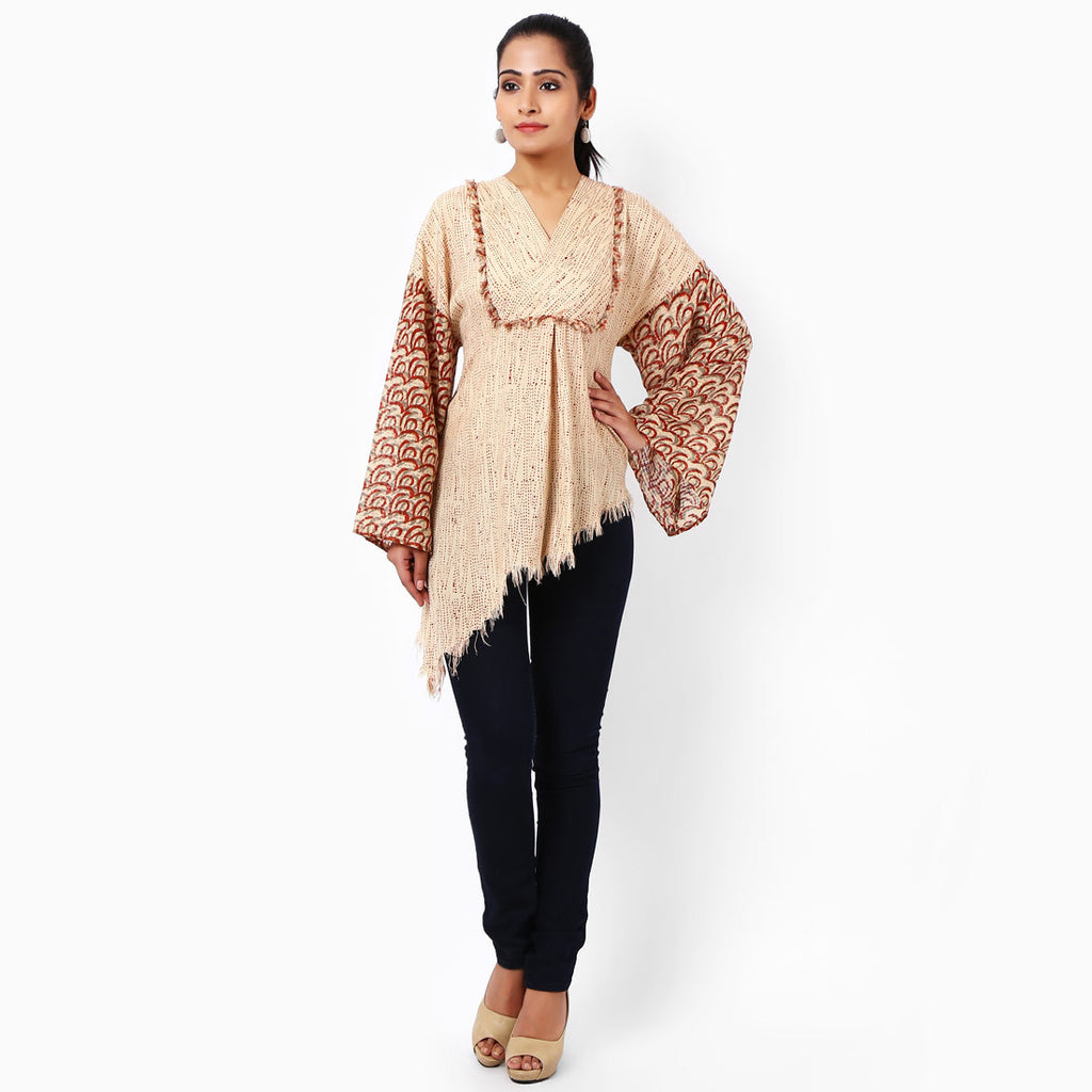 Beige Cotton Top  by JAYATI GOENKA