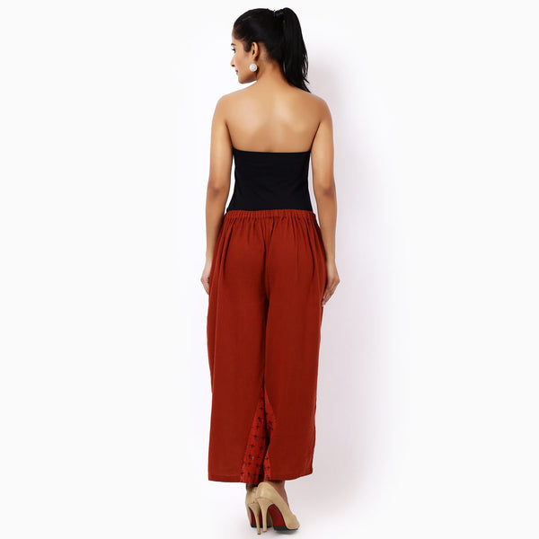 Red Cotton Ankle Length Pajamas