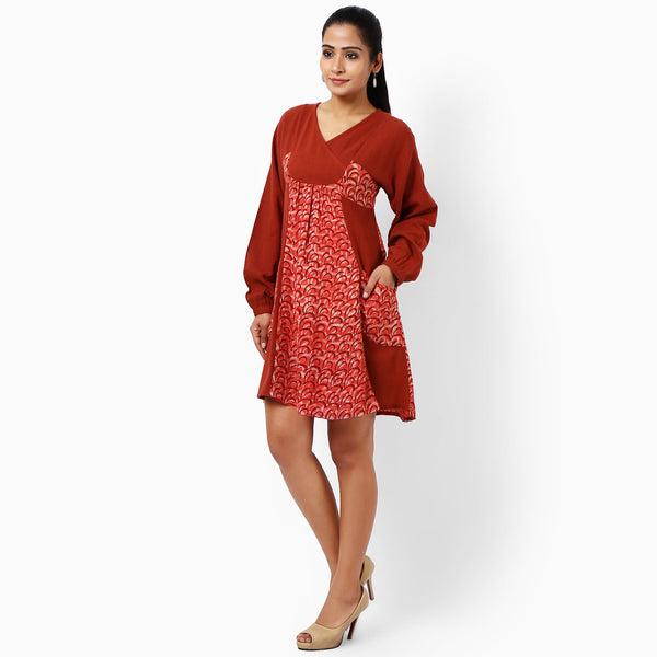 Red Cotton Dress With Pockets