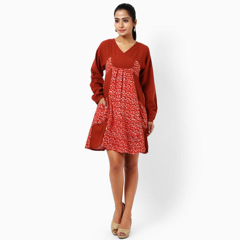 Red Cotton Dress With Pockets by JAYATI GOENKA