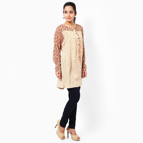 Beige Cotton Tunics  by JAYATI GOENKA