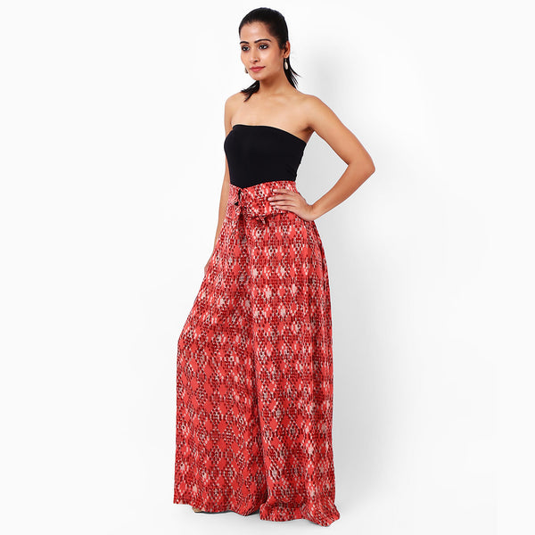 Red Cotton Block Printed Palazzos