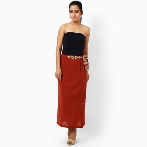 Red Cotton Skirt by JAYATI GOENKA