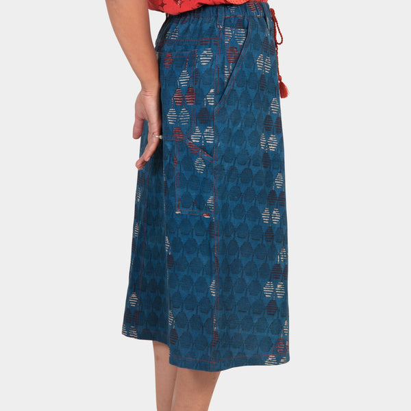 Indigo Printed Skirt
