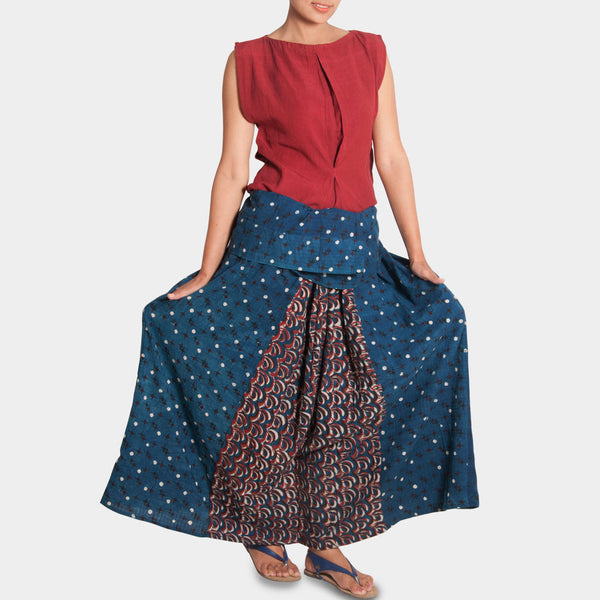 Red Top And Indigo Skirt Trousers Set by JAYATI GOENKA