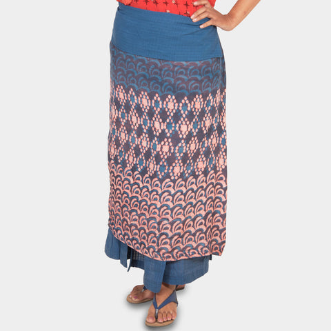 Indigo Ankle length Skirt by JAYATI GOENKA