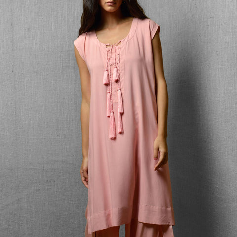 Pink Cotton Rayon Oversized Kurta With Tassel & Loop Detail In Front by Kanelle by Kanika Jain