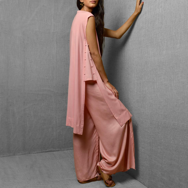 Pink Cotton Satin Wide Leg Front Slit Pants
