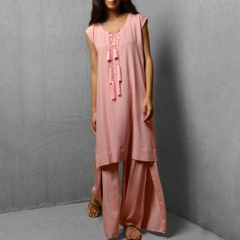 Pink Cotton Satin Wide Leg Front Slit Pants by Kanelle by Kanika Jain